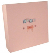 Baby Pink Keepsake Box with Baby Blocks embroidered motif