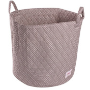 Minene Storage Basket Grey with white spot Large- round storage baskets, large fabric storage basket - great for toy storage, kids storage and as a laundry basket-christmas