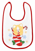Soft Touch Baby Girl/Boy hook and loop Fasten Towel Bib with Festive Xmas Cat/Kitten Design