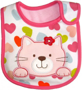 Baby Bib Pussy Cat for Girl hook and loop Cotton, Embroidered detail, FULLY LINED, INNER WATERPROOF LAYER, One Size - Pink