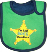 "Baby Bib, ""I'm the Boss Around Here"" - Cotton, FULLY LINED INNER WATERPROOF LAYER, Green & Blue"