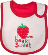 Baby Bib, I am Berry Sweet - Strawberry Red, Embroidered, FULLY LINED INNER WATERPROOF LAYER