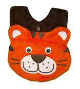 Baby Bib for Boy or Girl, Tea Time Tiger - Size Small - Terry & Cotton baby bib, Orange & Brown