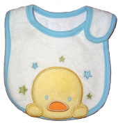 Baby Bib, Blue & Green Stars Duck, FULLY LINED with INNER WATERPROOF LAYER, Cotton hook and loop Side Closure, White, Blue & Green