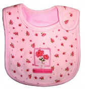 "Baby Bib for Girl, Roses ""Mommy's Little Girl"", Embroidered Detail, 100% Cotton, Pink & Light Brown, FULLY LINED INNER WATERPROOF LAYER"