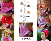 Pack of 5 New Cute Baby Girls Dry Dribble Catcher Bandana Bibs / Head Scarves