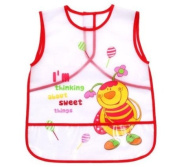 1 x Baby Water Proof Apron Bib for FEEDING / PAINTING / COOKING / ARTS & CRAFTS / PLAYING - 24 m+ - RED