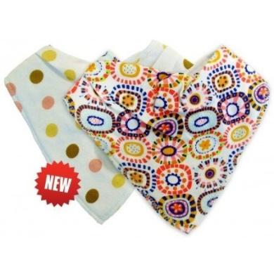 Nuby Bandana Bibs (2 in a Pack) - Boy-Blue Star & Stripey/Girl-Pink Dotty & Funky Swirls Design