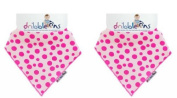 Dribble Ons Bandana Bib - ** 2 PACK/TWIN PACK ** (SPOTTY PINK