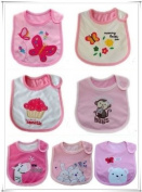 BABY GIRLS BIBS PACK OF 7 ADORABLE BIBS,FULLY LINED,INNER PVC WATERPROOF 100% COTTON SUITABLE FROM NEWBORN - 3 YEARS