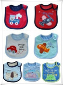 BABY BOYS BIBS PACK OF 7 ADORABLE BIBS,FULLY LINED,INNER PVC WATERPROOF 100% COTTON SUITABLE FROM NEWBORN - 3 YEARS