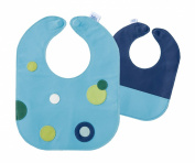 Mod Dots Blue Baby Leather Bib