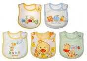 Baby Bibs Cuto & Cuddly & Friends for BOY or GIRL Embroidered FULLY LINED INNER WATERPROOF LAYER hook and loop Cotton One Size (5 pack) - Yellow, Orange, Green