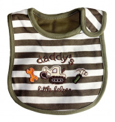 Baby Bib, Daddy's Little Helper, 100% Cotton, fully lined with inner waterproof layer, Brown, Cream and Orange