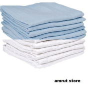 12 x BLUE AND WHITE MUSLIN SQUARES 100% COTTON 70X70CM