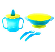 Baby Dinner Set with Lid - Suction Bowl / Cup with Spout / Knife & Fork - 6m+ - BLUE