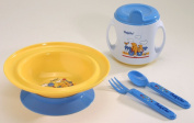 Baby Tableware Feeding Set -- Includes Suction bowl, Weaning Cup & Cutlery -- Colour