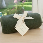 Tuppence and Crumble soft fleece baby blanket sage with cream stitching