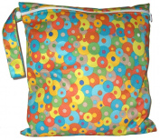 FAB4BABYSTARS, HIPPY CHICK, WET BAG, NAPPY BAG, MADE WITH INNER WATERPROOF MATERIAL (PUL), STRETCHY, ZIPPER & HANDLE