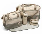 5pcs Baby Nappy Changing Bags Set in Khaki