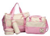 5pcs Baby Changing Bag in Pink/Cream