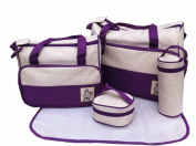 5pcs Baby Nappy Changing Bags Set in Purple