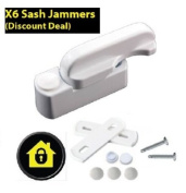 X6 Sash Jammers (Multi-Buy Discount Deal) - Extra Security Locks for uPVC Window & Doors - White