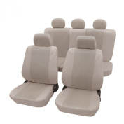 Cartrend Elegance Complete Seat Cover Set with Doku Seam Suitable for Side Airbags Beige