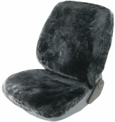 Cartrend 60240, Genuine Lambskin Front Seat Cover, Anthracite, Universally Fitting, with Special Seam for the Airbag ('Doku Seam'), Incl. KBA (Federal Office For Motor Vehicles) Certificate