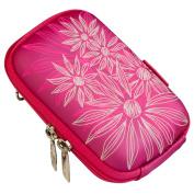 Rivacase Riva 7022 PU Digital Camera Case, Crimson Pink/Flowers.