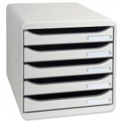 Multiform Big Box Plus Drawer Set Plastic 5 Drawers each H43mm A4plus Light Grey Ref 309740D