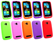 Emartbuy Nokia Lumia 610 Bundle Pack of 5 Silicon Skin Cover Case Hot Pink Purple Red Orange Green