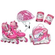 HELLO KITTY Inline Roller Skates Set (30 - 33) (Inline Skates, Protective Helmet/ Pads, Crystal Bag) (OHKY21).