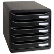 Multiform Big Box Plus Drawer Set Plastic 5 Drawers each H43mm A4plus Black Ref 309714D