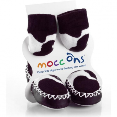 Mocc Ons Cow Print Slipper Socks (6-12 Months)