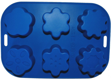 Silicone 6 Cup Flower Shapes Soap/Muffin/Fairy Cake Tin/Tray/Jelly Mould/Pan FREE POSTAGE