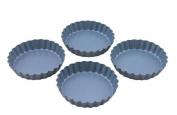 Swift Faringdon Collection Bakers Pride Non-Stick Quiche Tart Pans Carbon Steel 10 cm x 10 cm x 2cm Set of 4