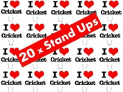 20 x I Love Cricket STAND UP Fairy Muffin Cup Cake Toppers Decoration Edible Rice Wafer Paper