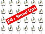 24 x Cricket Terms STAND UP Fairy Muffin Cup Cake Toppers Decoration Edible Rice Wafer Paper