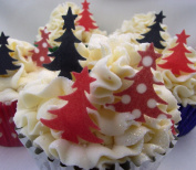 Christmas Cake Decorations - Edible Wafer Stand Up Christmas Trees x24