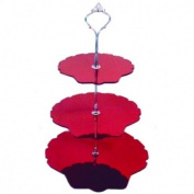 Three Tier Red Mirror Leaf Cake Stands - Medium + Silver Handle