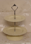 French Cream Two Tier Ceramic Cake Stand with Pretty Cut out Detail and Scalloped Edges