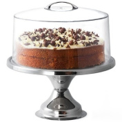 Stainless Steel Cake Stand and Metal Handle Cake Dome   30cm Cake Stand   Cake Display for Cafes and Restaurants, Keep Your Cakes Fresh