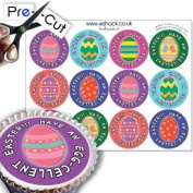 12 x PRE-CUT Colourful Easter Egg - Edible Cake Toppers / Decorations