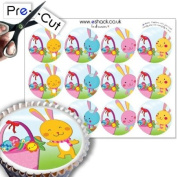 12 x PRE-CUT Easter Bunny and Basket - Edible Cake Toppers / Decorations
