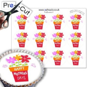 12 x PRE-CUT Edible 'Happy Mothers Day' Cute Flowers Cake Toppers / Decorations