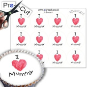 12 x PRE-CUT Edible 'I love Mummy' Mothers Day Cake Toppers / Mothers Day Cake Decorations