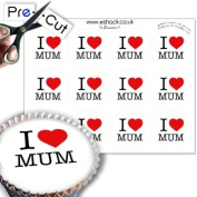 12 x PRE-CUT Edible I Love Mum - Mothers Day Cake Toppers / Mothers Day Cake Decorations