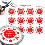 12 x PRE-CUT Edible Red Happy Mothers Day Cake Toppers / Decorations