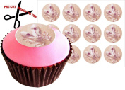 12 PINK BALLET SHOES 38mm (1.5 Inch) PRE-CUT Cake Toppers Edible Rice Paper Cupcake Decoration 105